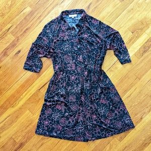Woman Within Floral Button Up Shirt Dress